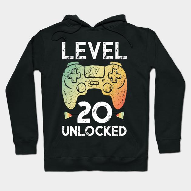20th Birthday Gamer Shirt Level 20 Unlocked Gaming Tee Gift