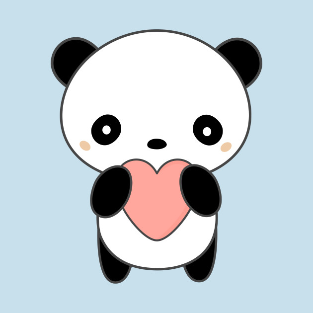 Kawaii Cute Panda Bear With Heart T Shirt