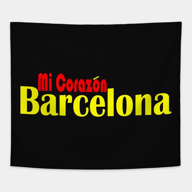 Barcelona Mi Corazon Barcelona Tapestry Teepublic