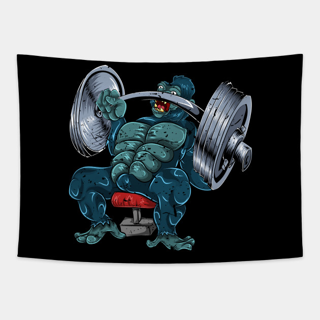 Workout Gorilla Bench Press Workout Tapestry Teepublic