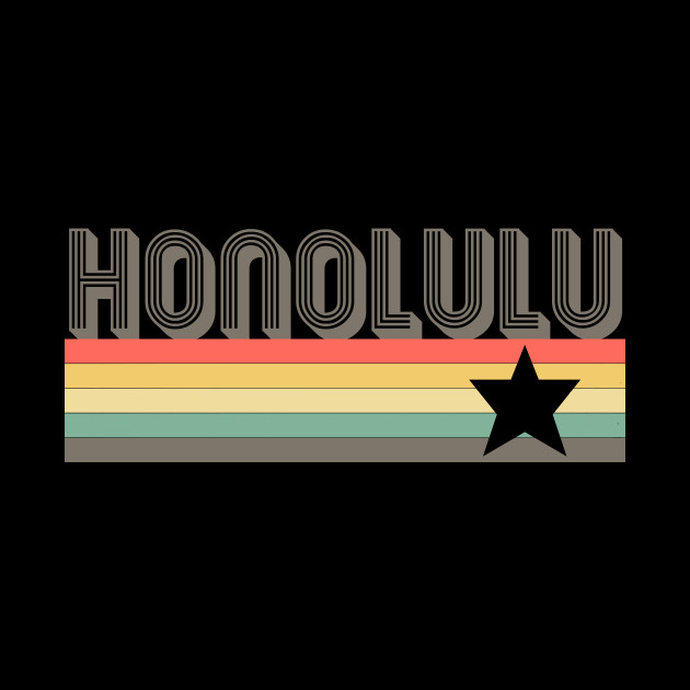 Honolulu T-Shirt City Vintage Retro 70s Hawaii Tee Gift