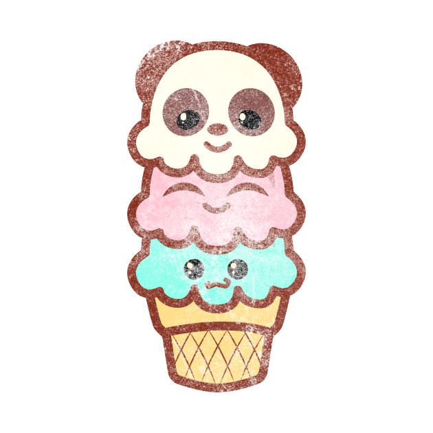 Vintage Icecream Ice Cream Cone Women Shirt Kawaii Cute Panda Bear