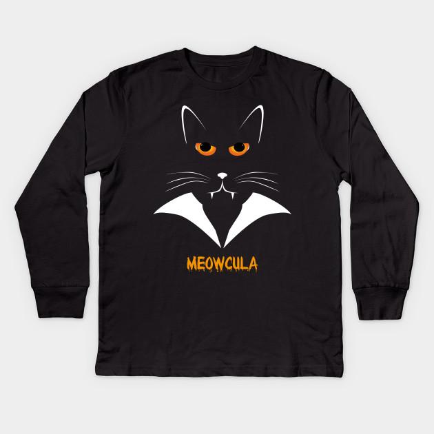 a36aa3d6a Meowcula Funny Cat Vampire Dracula Halloween Tee Shirt gift Kids Long  Sleeve T-Shirt