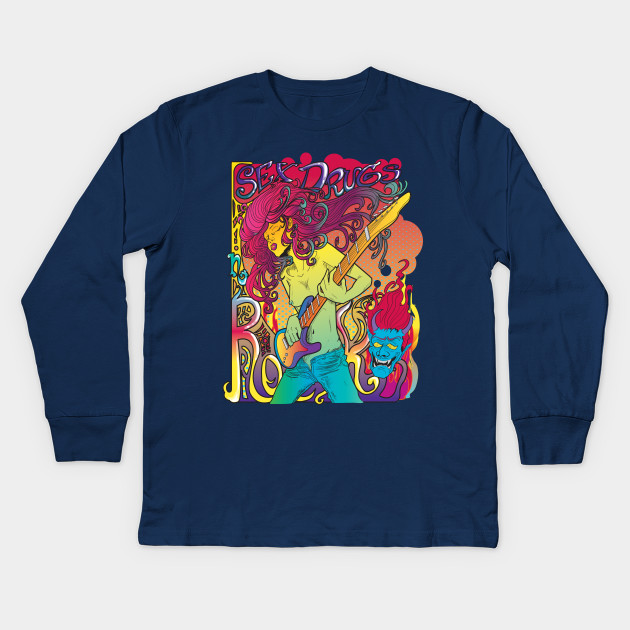 86673fd3 Psychedelic Rock Star Shirt - Rock Star With Guitar - Kids Long ...