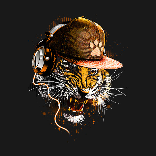 Cool Tiger With Headphone