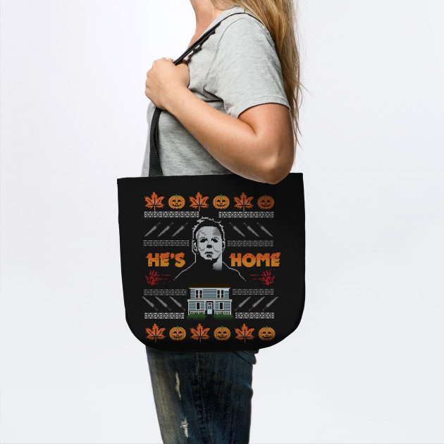 Hes Home Christmas Sweater Michael Myers Tote Teepublic
