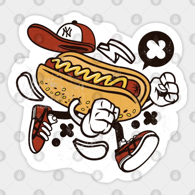 Funny Hot Dog Cartoon Hot Dog Sticker Teepublic