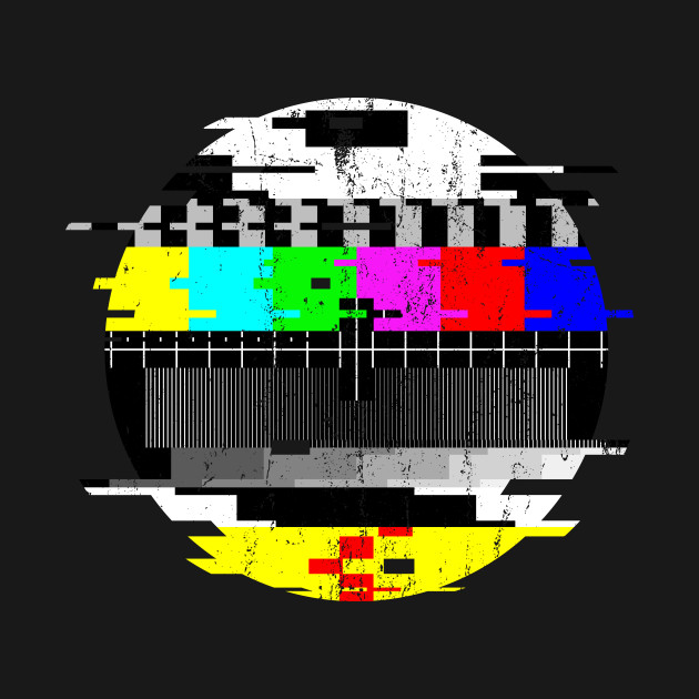 Vintage Glitched TV Test Card Graphic