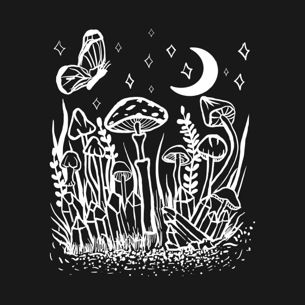 Wild Foliage Garden Witch Crystals, Mushrooms, Moth, Moon