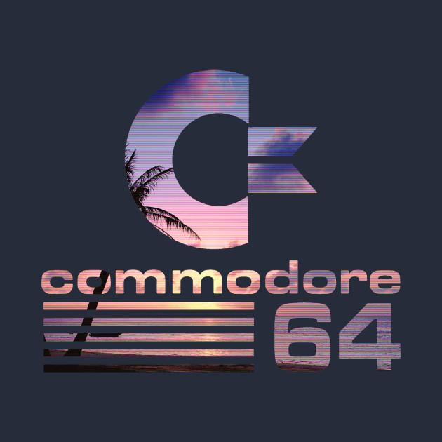 commodore 64 vaporwave logo commodore logo tshirt