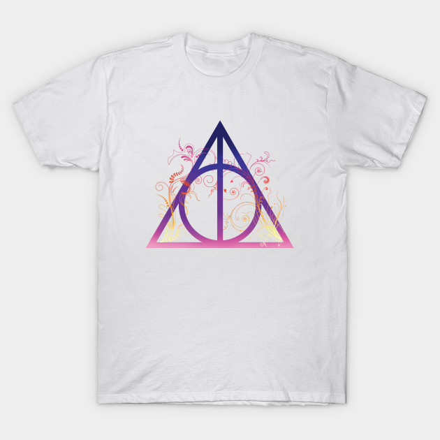 f15b1f073 Harry Potter - Deathly hallows colorful with floral decorations - elder  wand, invisibility cloak, ...