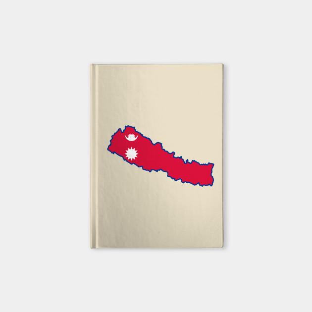 Nepal Map Flag - Nepal Map Flag - Notebook | TeePublic