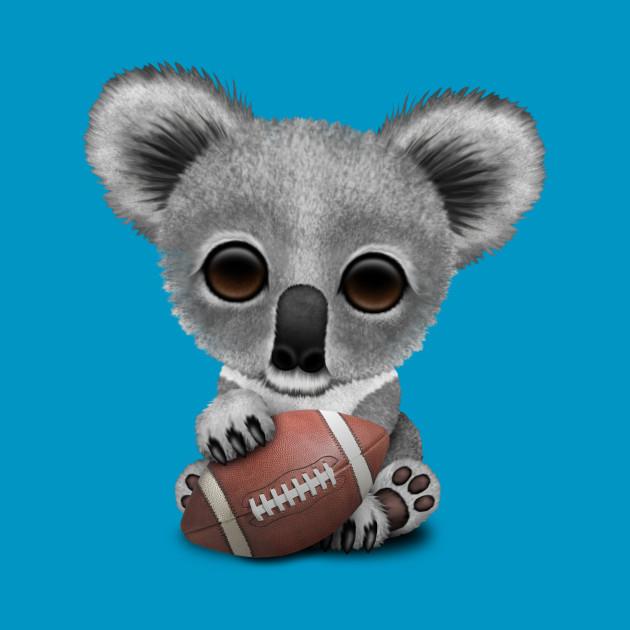 Cute Baby Koala Playing With Football