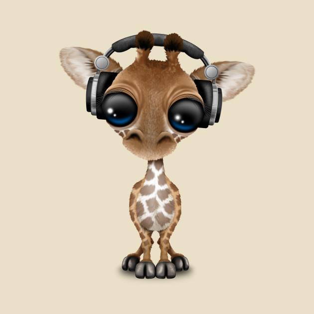 Cute Baby Giraffe Dj Wearing Headphones Baby Giraffe T Shirt