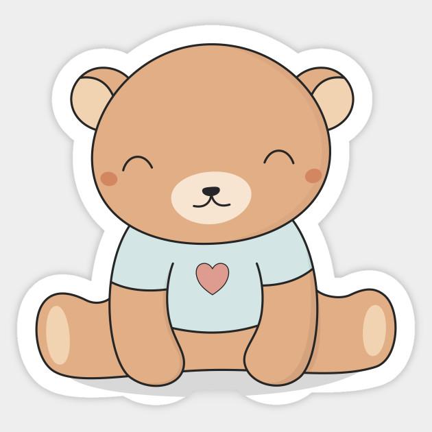 kawaii cute brown teddy bear cute bear sticker teepublic