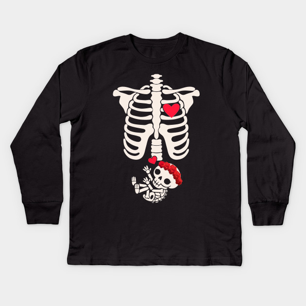 b45006978 Women's Pregnant Mom Halloween TShirt Baby Skeleton Kids Long Sleeve T-Shirt