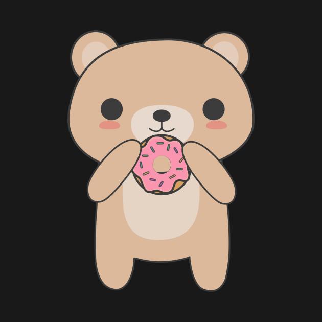 Cute & Kawaii Bear Eating A Donut