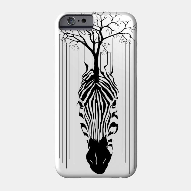 Animal Zebra Line Of tree Black and White