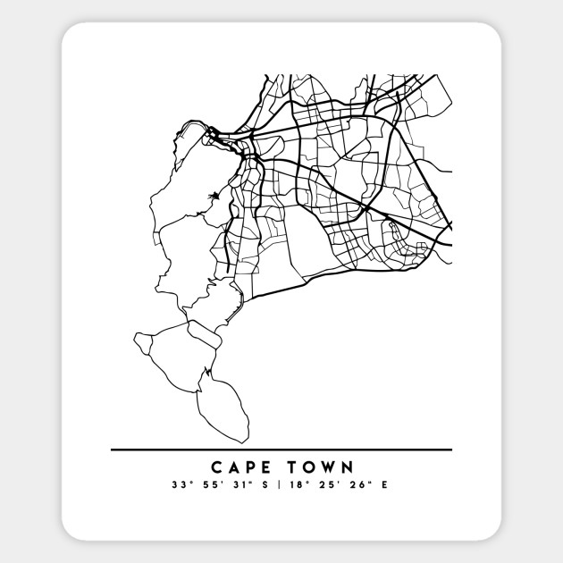 CAPE TOWN SOUTH AFRICA BLACK CITY STREET MAP ART   Cape Town