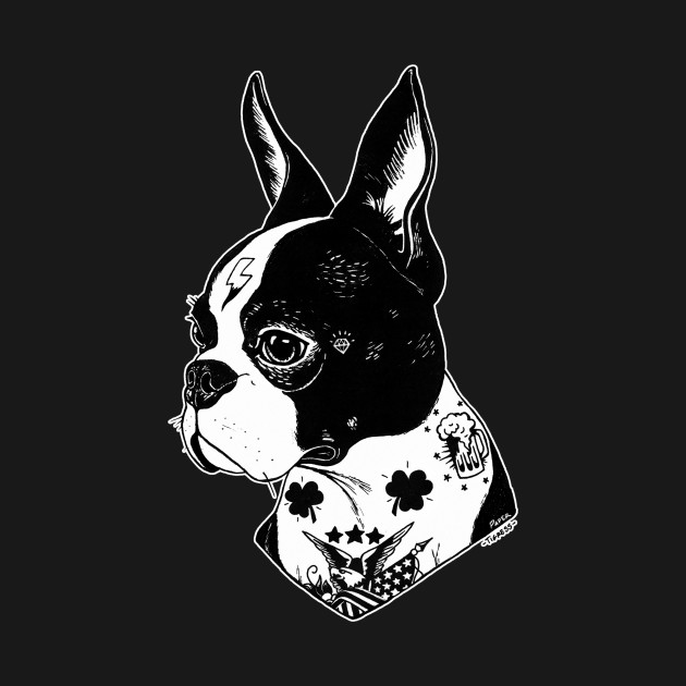 tattooed boston terrier boston terrier tattoos t shirt teepublic. Black Bedroom Furniture Sets. Home Design Ideas
