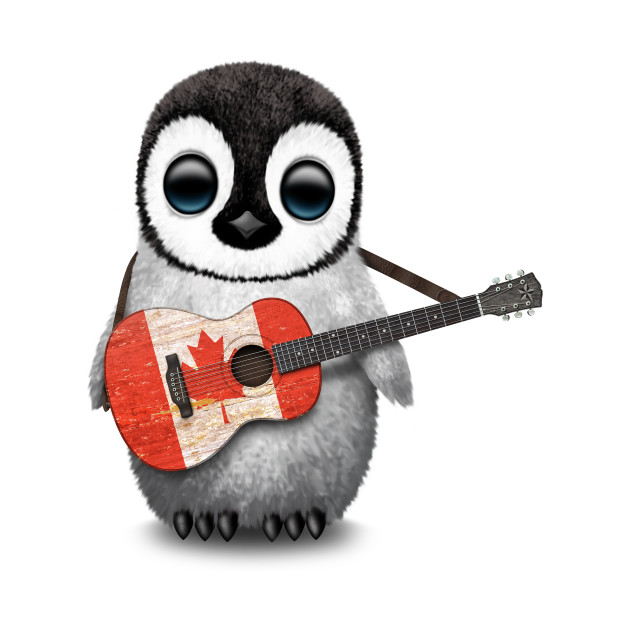 Baby Penguin Playing Canadian Flag Guitar