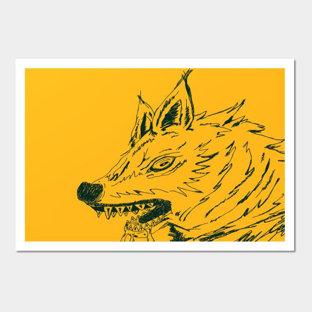 Animal Wolf - Design Ilustration Wolf Sketches Black - Wall Art ...