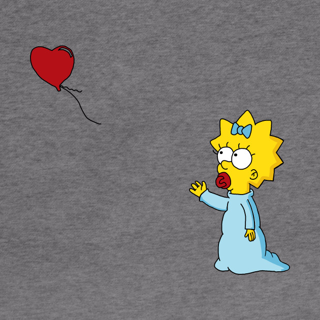 Maggie Simpson Banksy Red Balloon