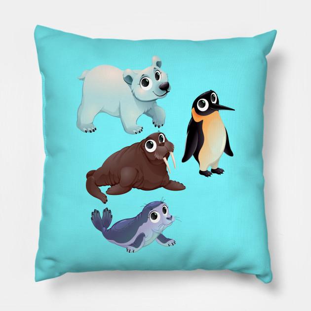 cute arctic animals cute animals pillow teepublic