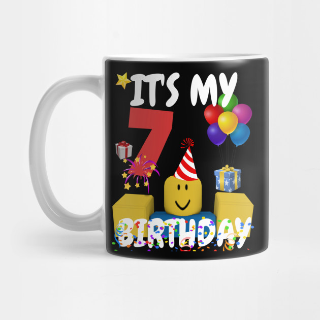 Noob Head Old Smile Roblox Roblox Noob Birthday Boy It S My 7th Birthday Fun 7 Years Old Gift Roblox Mug Teepublic