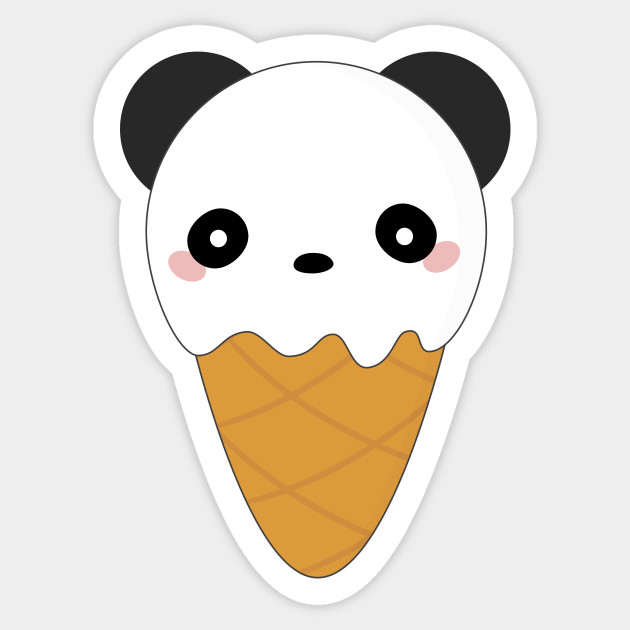 Kawaii Panda Bear Ice Cream Cone Kawaii Panda Sticker