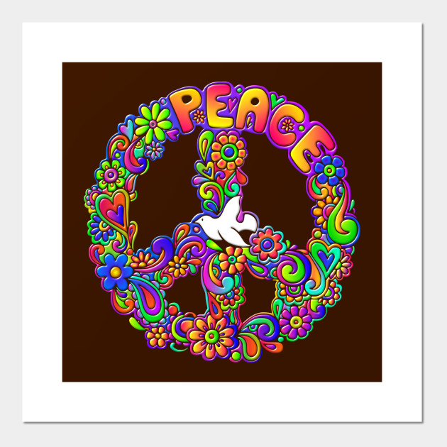 Hippie Flower Power Peace Sign Peace Symbol Flower Posters And