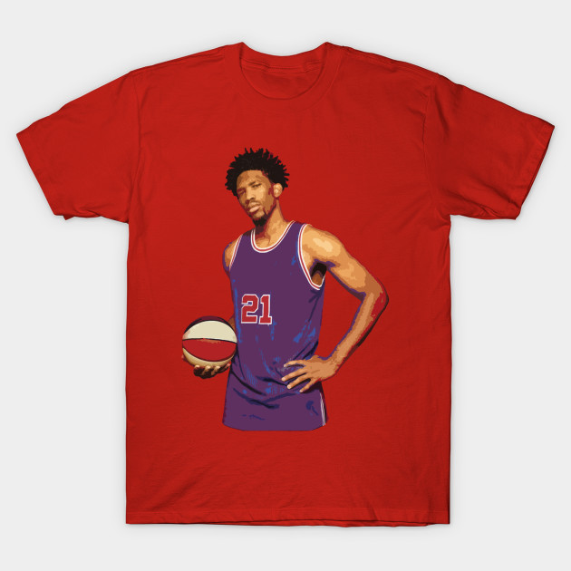 "RED Joel Embiid Philadelphia 76ers /""Trust The Process/"" T-shirt jersey S-5XL"
