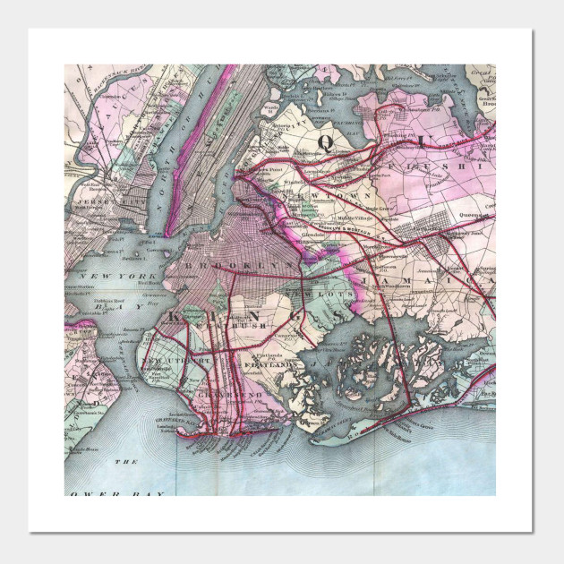 Vintage Map Of The Nyc Metro Area 1880 Nyc Map Posters And Art