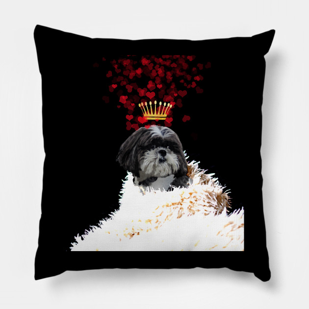 Shi Tzu With A Crown Of Hearts Puppy Love Shih Tzu Pillow