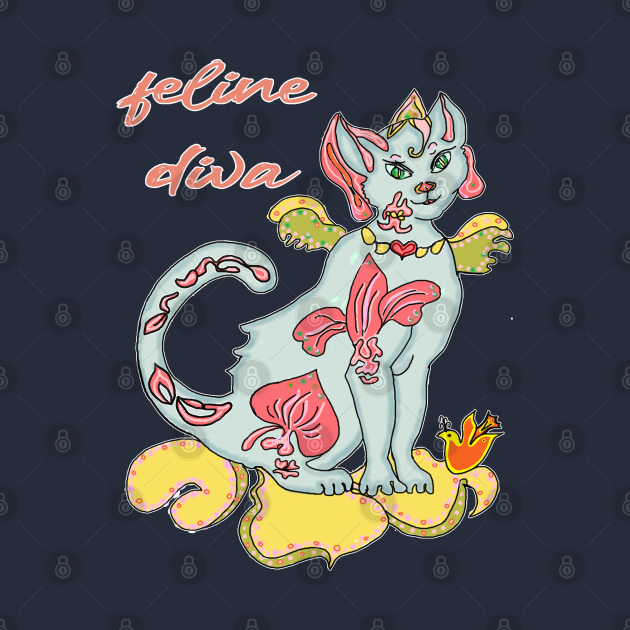 Feline Diva with orchid tattoos glamorous cat