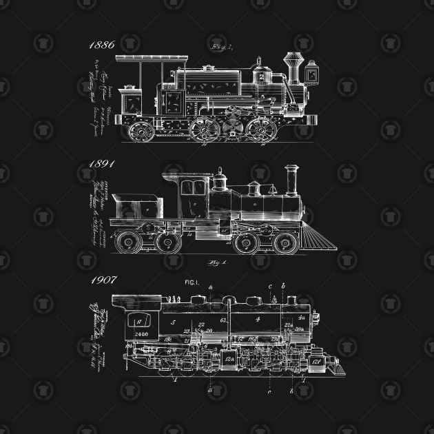 Vintage Steam Trains Patent Print