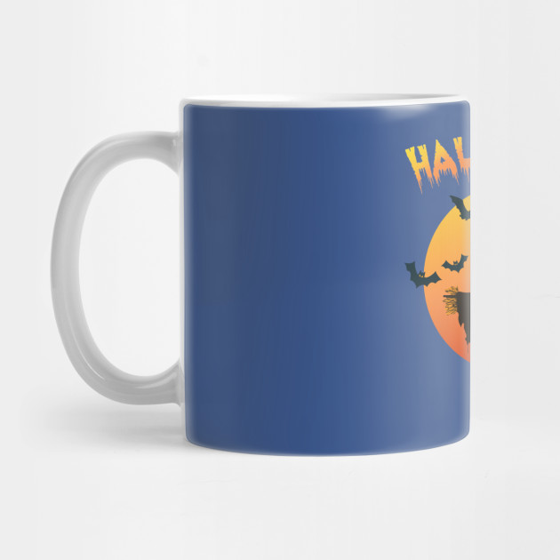 Halloween with Frightening Scarecrow and Flying Halloween Bats Mug