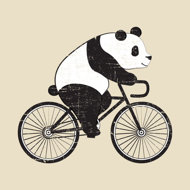 panda riding a bicycle cute cyclist illustration design panda t