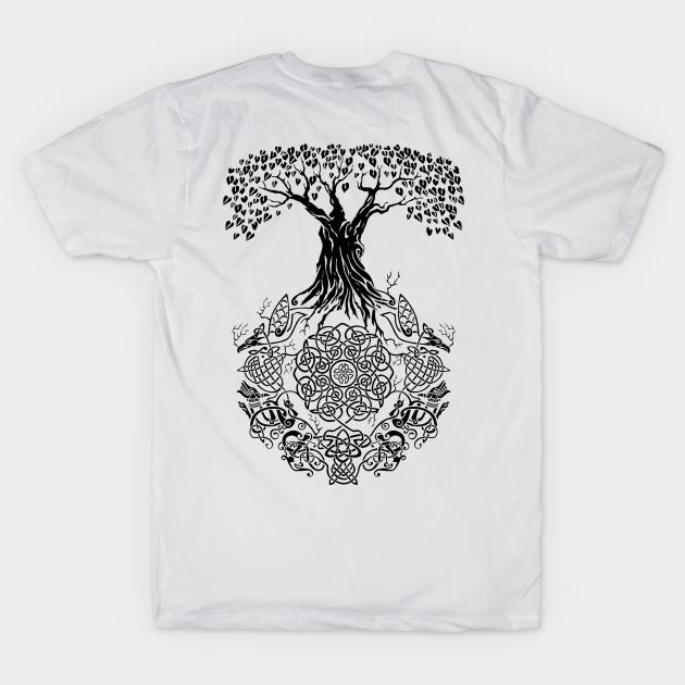 new product 12b28 c13d4 Back Design Yggdrasil Tree of Life Viking Shirts