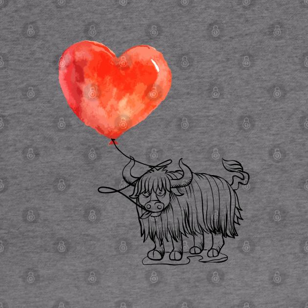 Yak Balloon Love Tee Heart Hoodie