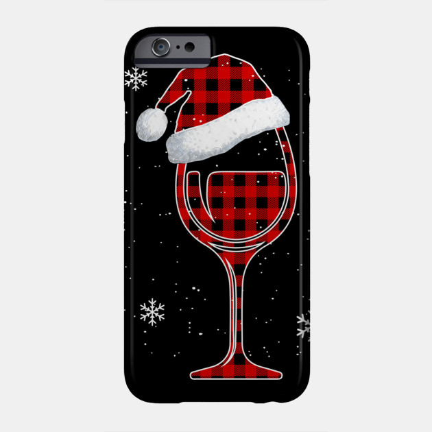 Red plaid Buffalo Christmas Wine With Santa Hat Matching Long Sleeve TShirt Phone Case