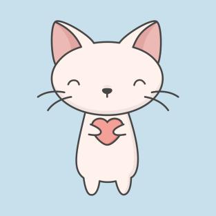 Kawaii Cute Cat With Heart T Shirt T Shirt