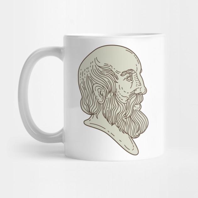 Plato Greek Philosopher Head Mono Line By Patrimonio