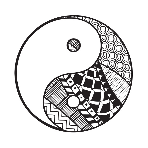 Abstract Lion With Yin Yang: Black And White Yin Yang Abstract Art