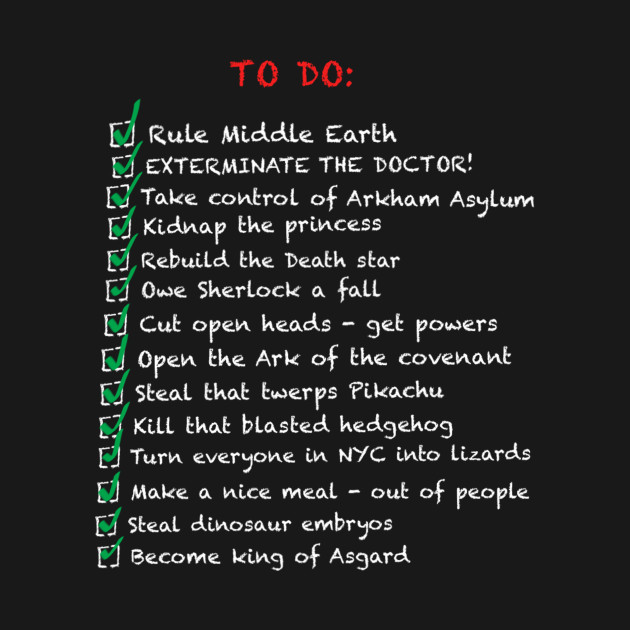 Busy Villains 'to-do' list