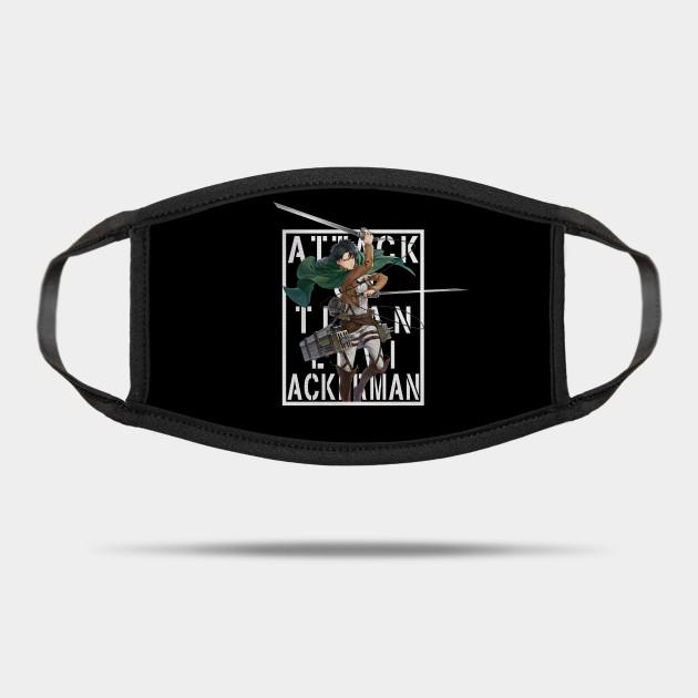 Attack On Titan Levi Ackerman Background Text White Levi Ackerman Mask Teepublic
