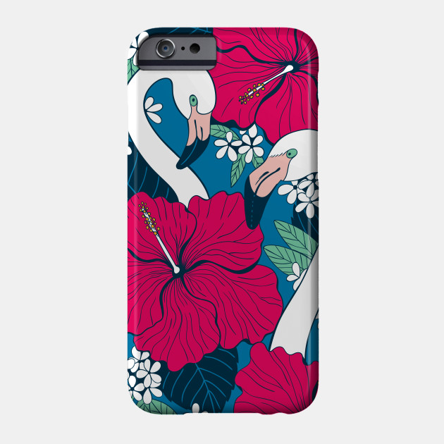 Flamingos and tropical flowers and leaves