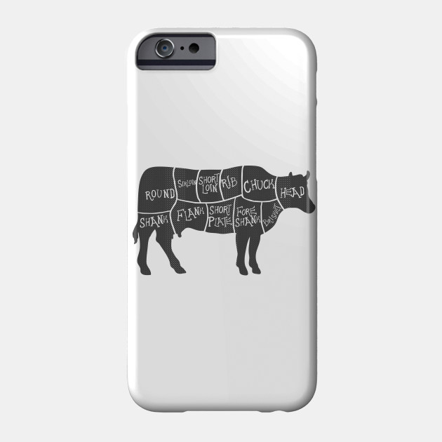 cow beef cuts diagram phone case