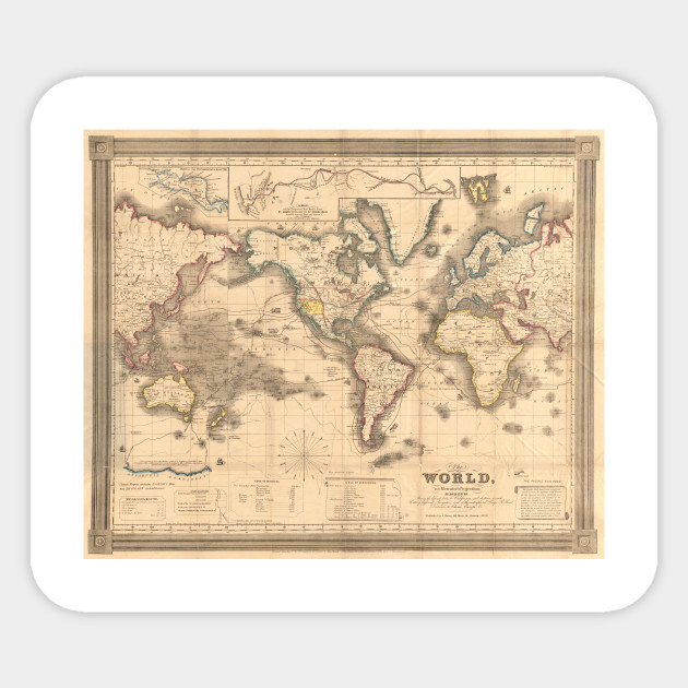 Vintage Map Of The World 1850 World Map Sticker Teepublic