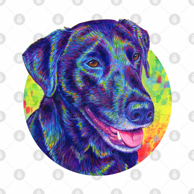 Psychedelic Rainbow Black Labrador Retriever